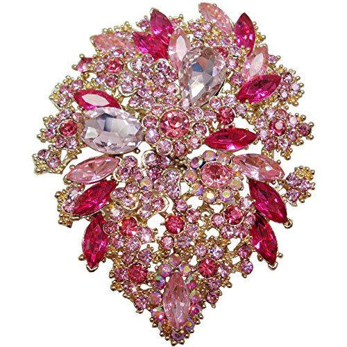 yle Crystal Rhinestone Droplets Flower Art Nouveau Brooch Pins B10390500 (Pink Gold-tone) ()