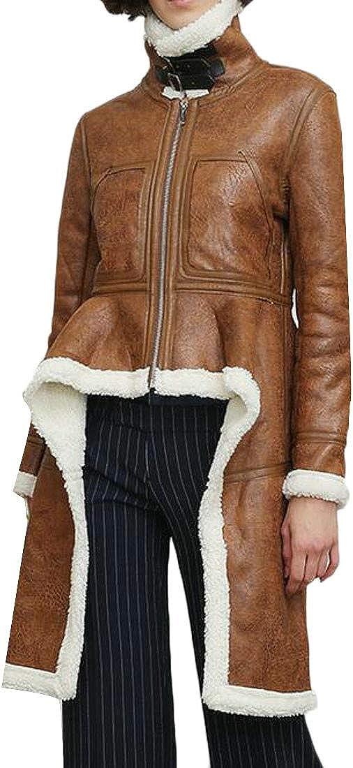 JSY Womens Fleece Lined Irregular Stand Collar Fleece Parka Jacket Coat
