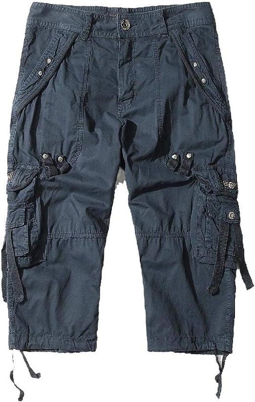 sayahe Men Half Pants Bechwear Multi Pockets Rugged Wear Cargo Work Pants