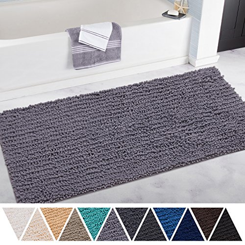 DEARTOWN 27.5x47 Inch Bathroom Rug Shag Shower Mat, Non-Slip Thick Bath Mat Made of Soft Chenille Microfiber, Machine Washable - Style 1: Silver Gray