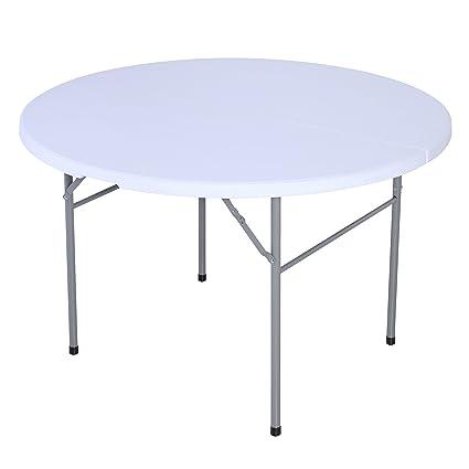 amazon com uenjoy folding table round bi fold indoor outdoor picnic