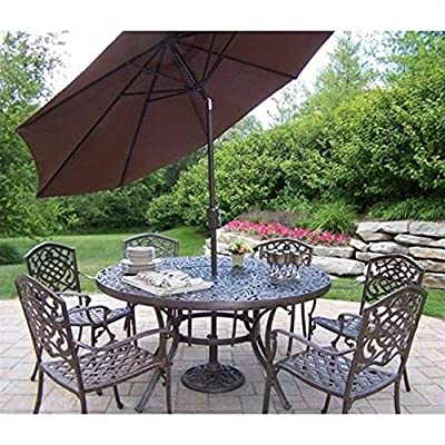 Oakland Living Mississippi Cast Aluminum 60-Inch Table with 6 Stackable Chairs, 7-Piece Dining Set Plus 9-Feet Tilting… - Rust Free Cast Aluminum Construction Hardened Powder Coat Finish in Antique Bronze for Years of Beauty Easy to Follow Assembly Instructions and Product Care Information - patio-furniture, dining-sets-patio-funiture, patio - 61LJRBDBS3L. SS400  -