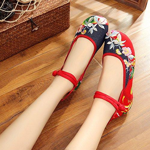 NGRDX&G Mujer Bordadas Zapatos Planos Retro Chino Calzado Casual Zapatos De Mujer butterfly red