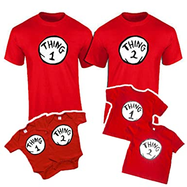 Amazon Com Thing 1 Thing 2 Adult Toddler And Onesie Thing 1 2 3 4