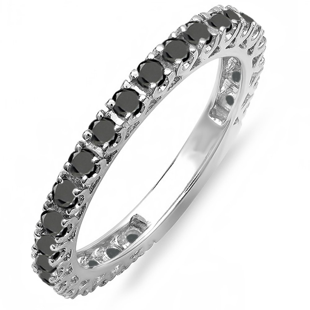 Dazzlingrock Collection 0.90 Carat (ctw) 14K Round Black Diamond Eternity Sizeable Wedding Band, White Gold, Size 8