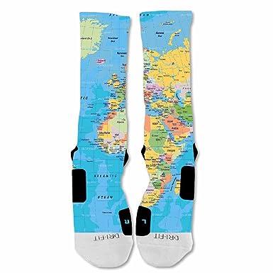 EliteDesignzz Men's World Map Custom Design Socks   Blue  : Amazon