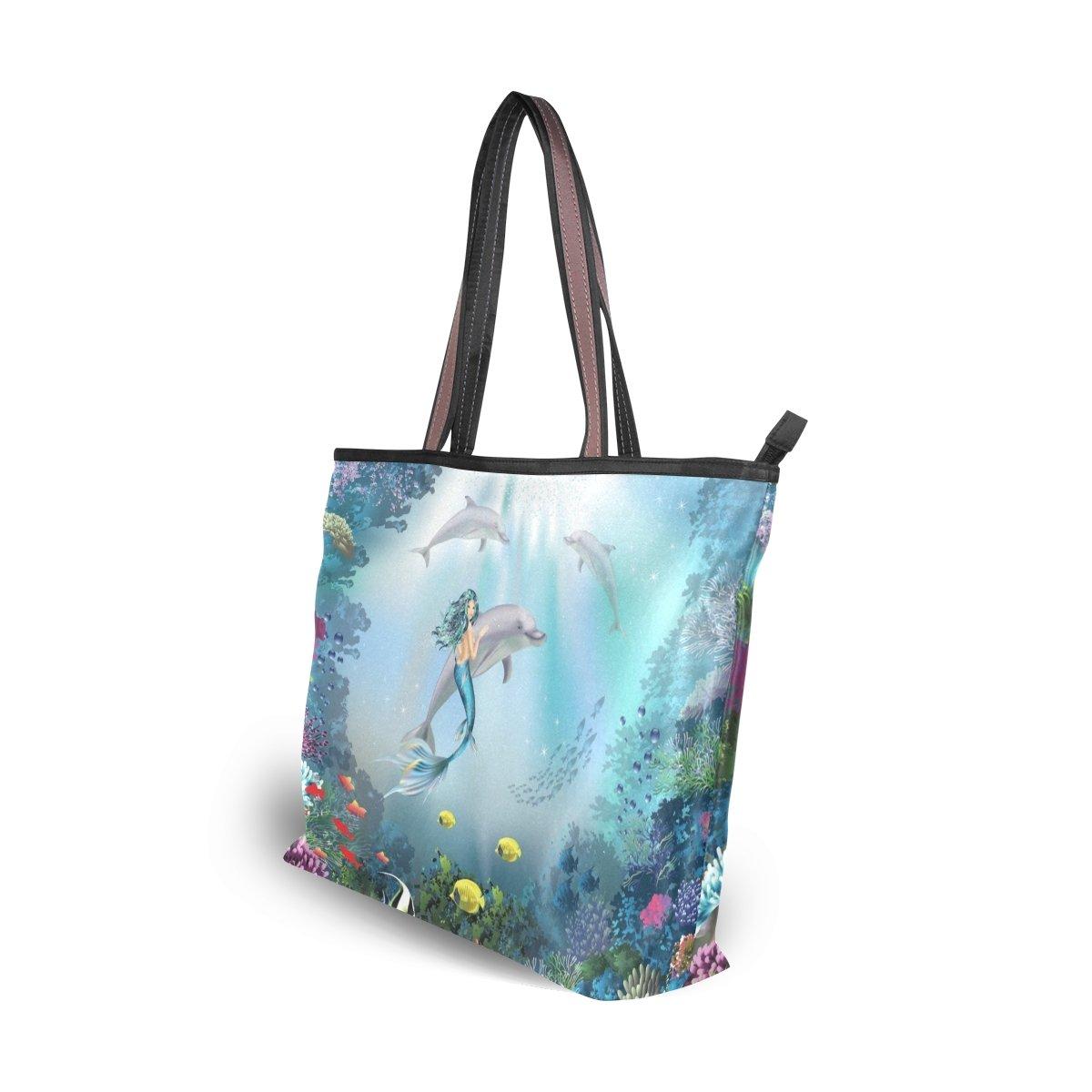 0c9b842ab5d4 Amazon.com: U LIFE Ocean Sea Mermaid Large Carry On Tote Bag ...