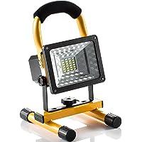 Lampe Chantier 15W Super Lumineuse, Projecteur LED Torche Portable et Rechargeable pour Ouvrier, Bricoleur, Tourneur et Travailleur