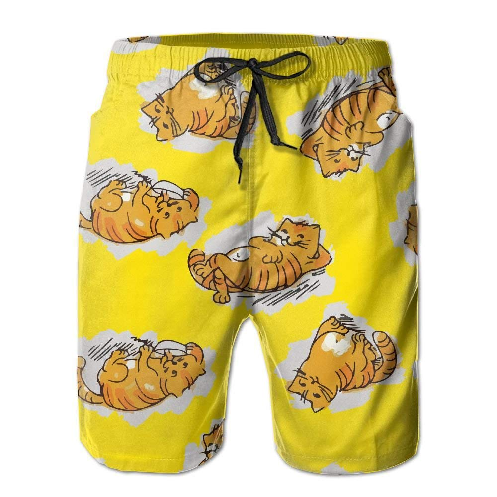Mens Naughty Cats Brown Summer Holiday Swim Trunks Beach Shorts Board Shorts