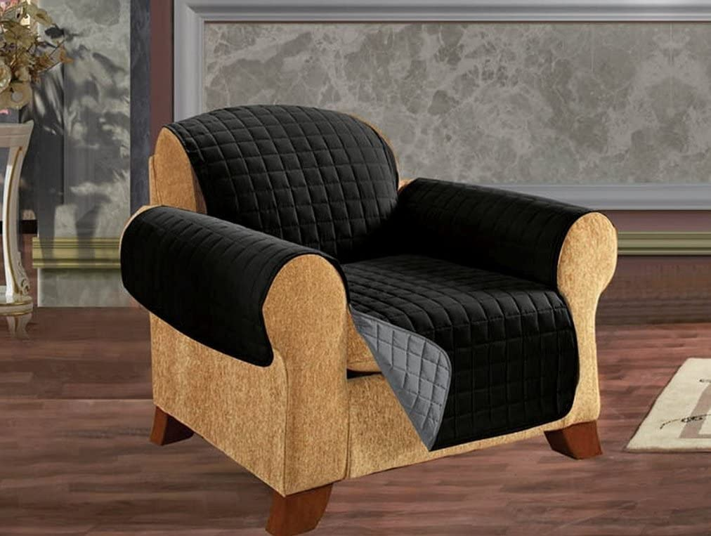 Empire Home Reversible Quilted Furniture Sofa / Love / Chair / Protector (Black / Gray, Chair)