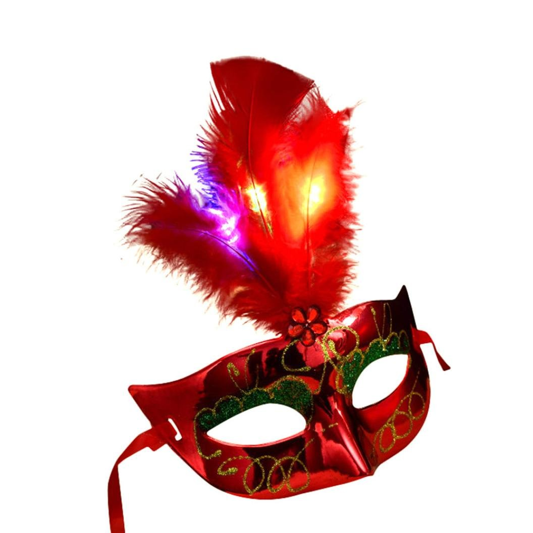 Gbell Women Venetian LED Mask, Masquerade Fancy Dress Party Princess Feather Masks (Red)