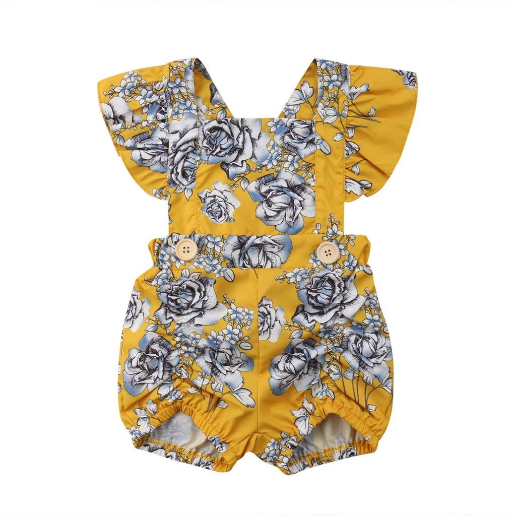 B. Bone Cute 0-18M Cotton Infant Baby Girls Newborn Jumpsuit Clothing Rompers Yellow