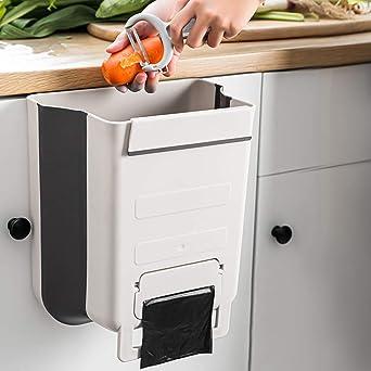 A Cubo Basura Cocina de la Cocina Bote de Basura Colgante Bote de Basura Plegable Cubo Basura Extraible Blanco 5L N