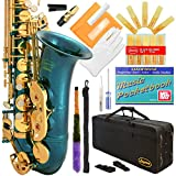 360-SB - Sea Blue/Gold Keys Eb E Flat Alto Saxophone Sax Lazarro+11 Reeds,Music Pocketbook,Case,Care Kit - 24 Colors with Silver or Gold Keys