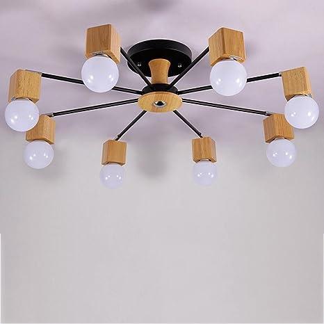 Lámpara colgante LED lámpara de techo de madera mesa de ...