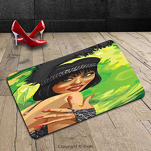 Glamour Dresses Australia (Custom Machine-washable Door Mat Vintage Retro Sexy Woman Portrait in Old Fashion Stylish Fashion Dress Glamour Artsy Print Multicolor Indoor/Outdoor Doormat Mat Rug Carpet)