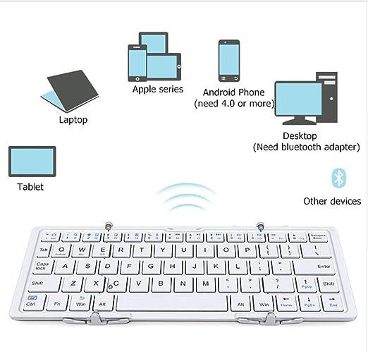 SHANGXIAN Teclado Bluetooth Plegable, Delgado Pórtatil Inalámbrico ...