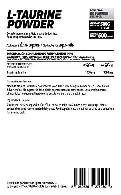 Taurina en Polvo de HSN Raw | Mejora la Hidratación y Reduce Calambres | Neurotransmisor y Aumenta la producción de GABA | Sin Gluten, Sin Lactosa, ...