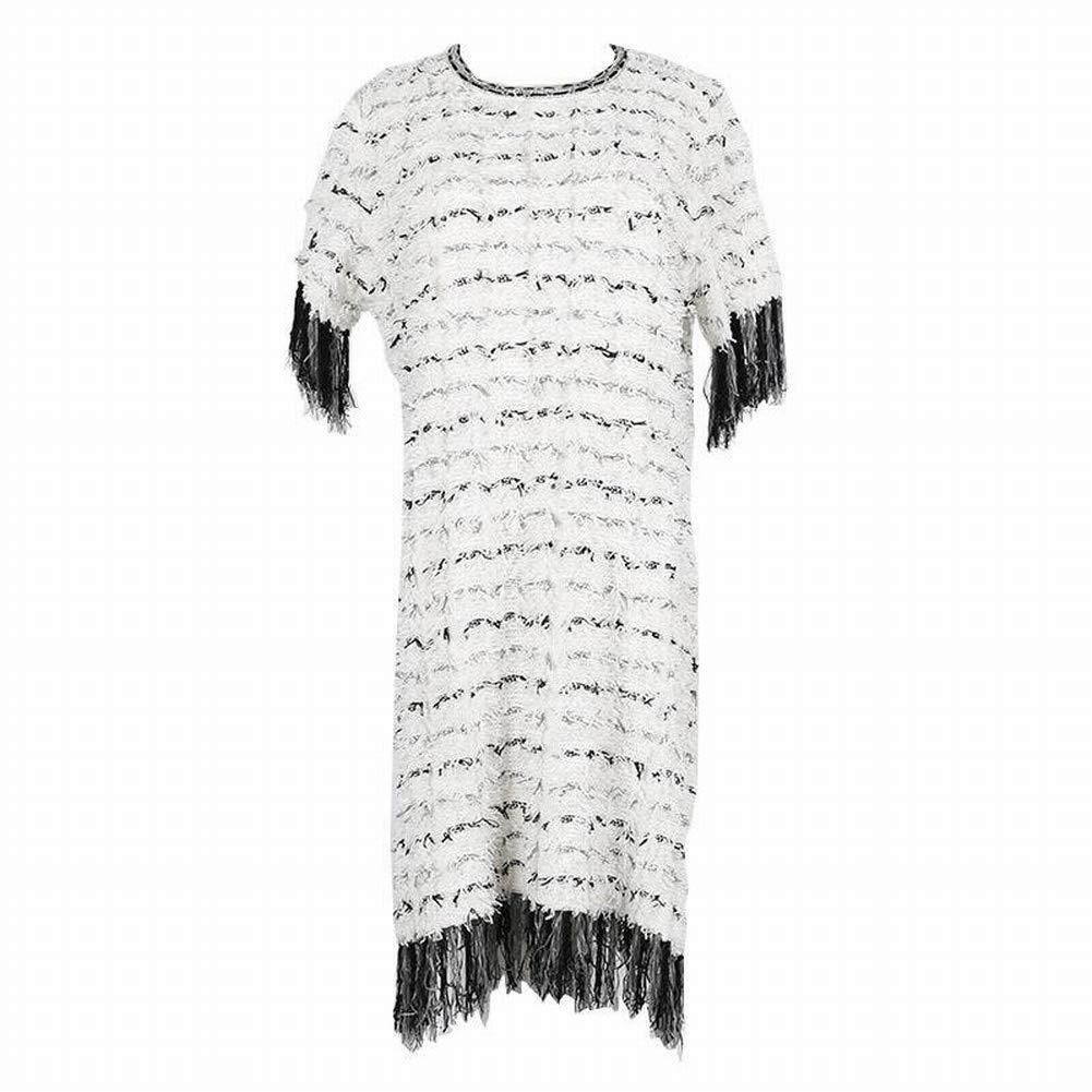 Good dress Frauen Elegante Quaste Rundhals Ausschnitt Kurzarm Schwarz und Weiß Farbe Block Strickkleid B07H3H49L6 Bekleidung Neuartiges Design