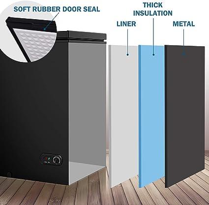 Northair Congelador de pecho 3.5 pies cúbicos con cesta extraíble, congeladores de puerta superior de pie de 6.8 °F a 4 °F con control de temperatura ajustable/descongelar drenaje de agua/ahorro de energía: