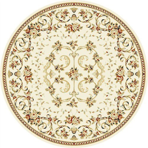 (Ivory Round Traditional Aubusson rug by Safavieh Lyndhurst in 8'x8')