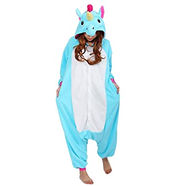 Quesera Womens Pajamas Cosplay Valentines Day Costume Homewear Onesie Kigurumi, Blue Unicorn, ...