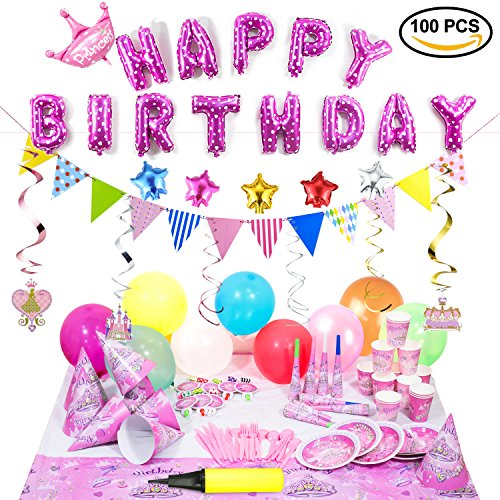 Birthday Party Supplies and Party Decorations All-in-One Pack with Pink Foil Balloons and Hanging Swirl Decorations by Party Accessories of Princess girl suit(1 balloon pump)(Over 100 (Princess Themed Birthday Party)