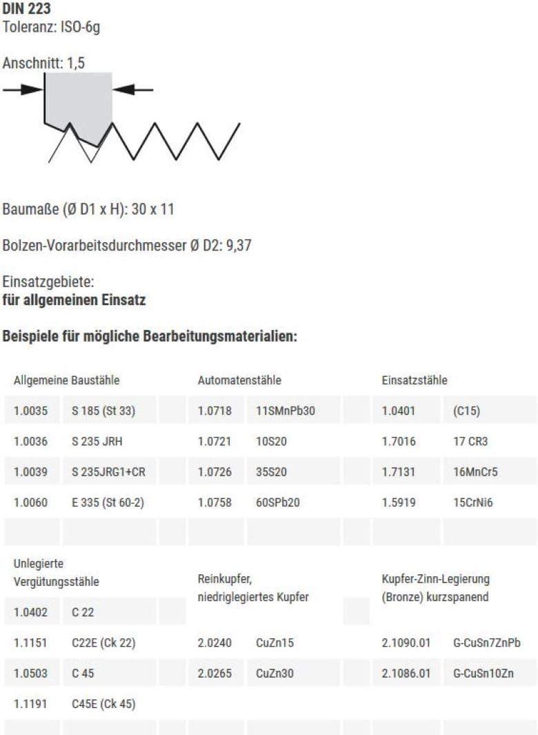HSS Gewindeschneider Au/ßengewindeschneider Gewindeschneideisen Schneideisen UNC 3//8 x 16