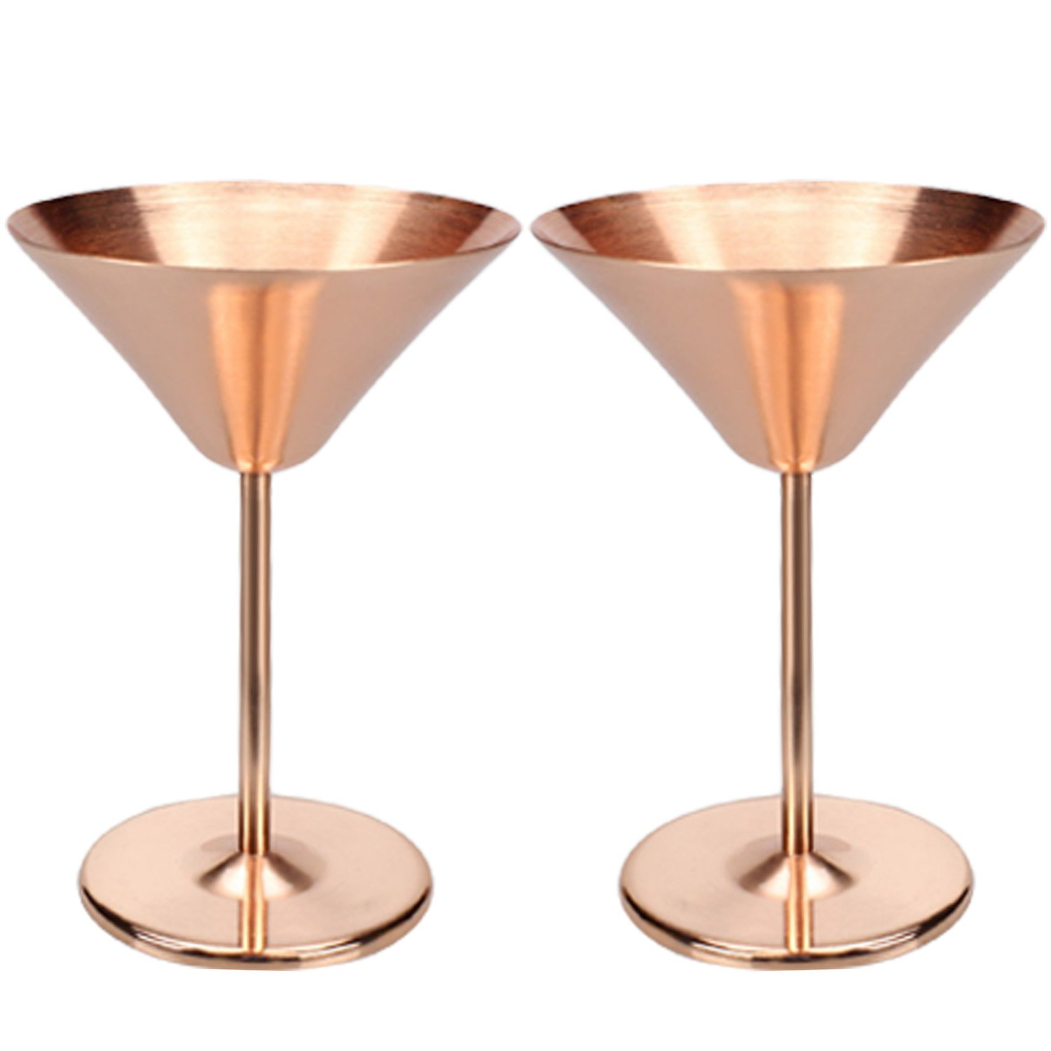 2 PCS Luxurious Stainless Steel Martini Glasses Copper Plated Cocktail Champagne Goblet Artisanal Barware 200ML Capacity