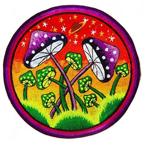 ImZauberwald Shroom Planet Patch 7.8 Inches UV Glowing Magic Mushroom