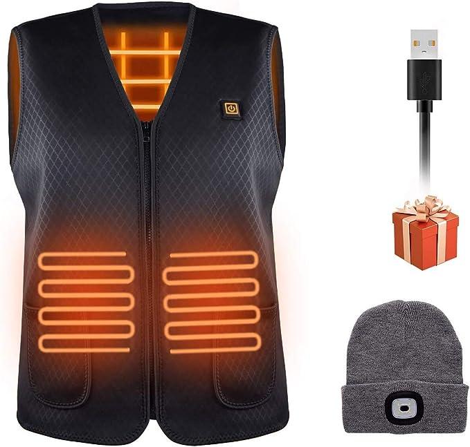 Chaleco Calefactable para Mujeres Chaleco Electrico USB con Temperatura Ajustable Chaleco Invierno Ideal para Acampar Actividades al Aire Libre Negro EXTSUD Chaleco T/érmico para Hombres