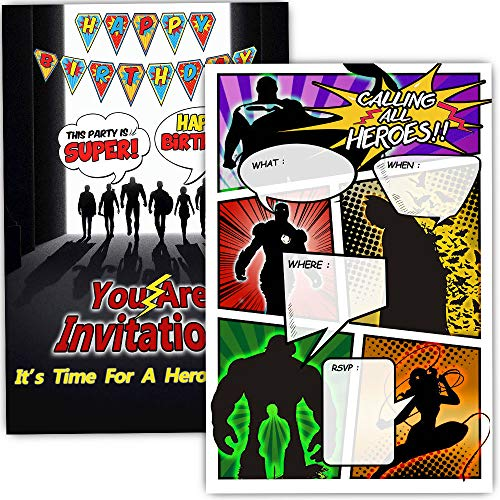 30 Superhero Birthday Party Invitations with Envelopes - Double Sided- Comic Book Style Superhero Party Invites - Superhero Party Supplies]()
