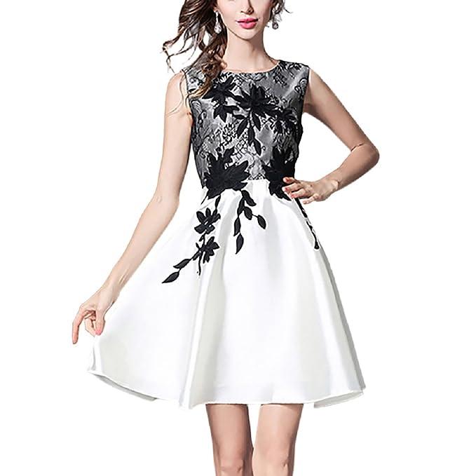 iShine Vestido para Mujer Corto de Fiesta para Bodas Sin Mangas A-Line Elegante de Coctel: Amazon.es: Ropa y accesorios