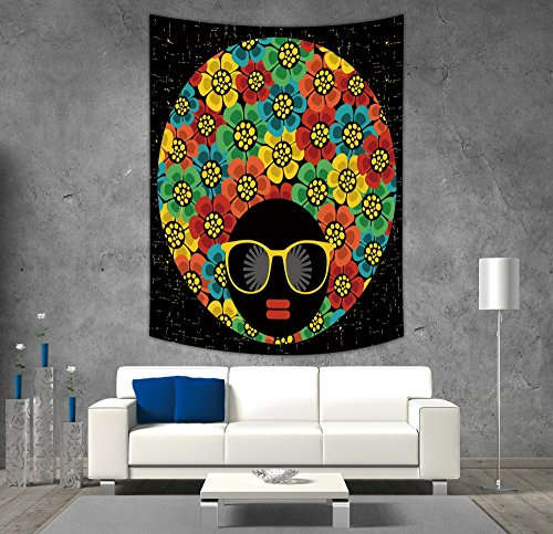 iPrint Polyester Tapestry Wall Hanging,70s Party Decorations,Abstract Woman Portrait Hair Style with Flowers Sunglasses Lips Graphic Decorative,Multicolor,Wall Decor for Bedroom Living Room -