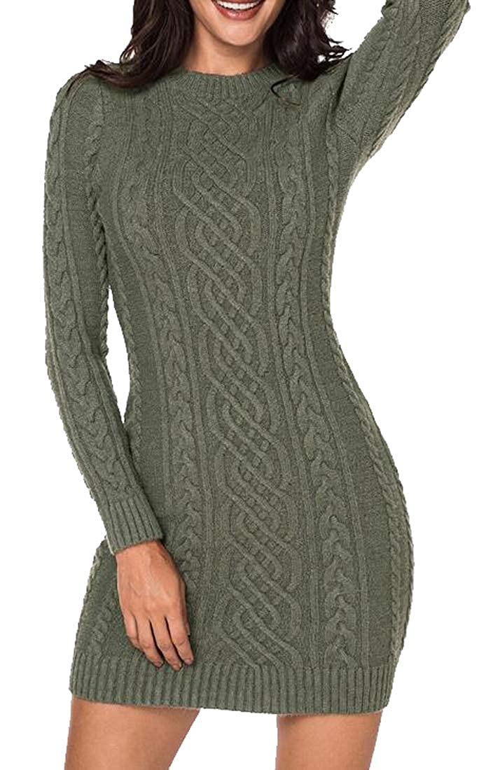 FSSE Womens Bodycon Slim Solid Color Twist Knit Pullover Sweater Dress