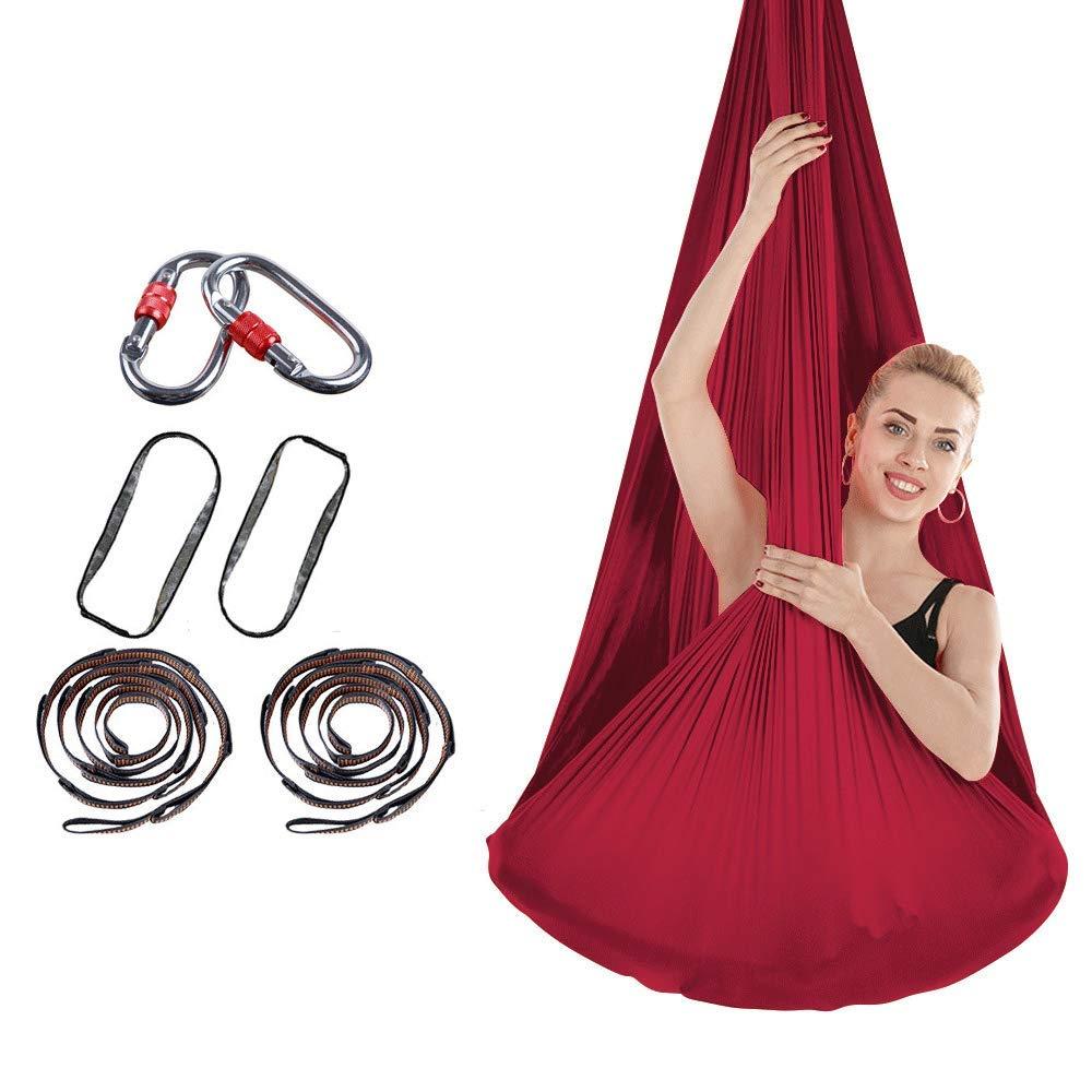 初心者、子供、ダンサーのための空中ヨガハンモック/フライングスイング/スリング/ブランコ/反転ツール - 反重力天井吊りヨガスリング+エクステンションストラップ+カラビナ (Color : Wine Red) B07MFY9KWM Wine Red