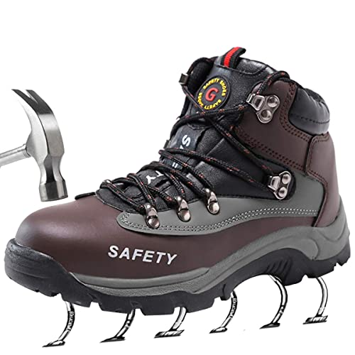 d3315df3410aa SUADEEX Mens Safety Trainers Shoes Work Steel Toe Cap Hiker Ankle Leather  Waterproof Safety Boots Fur Lined Snow Boots