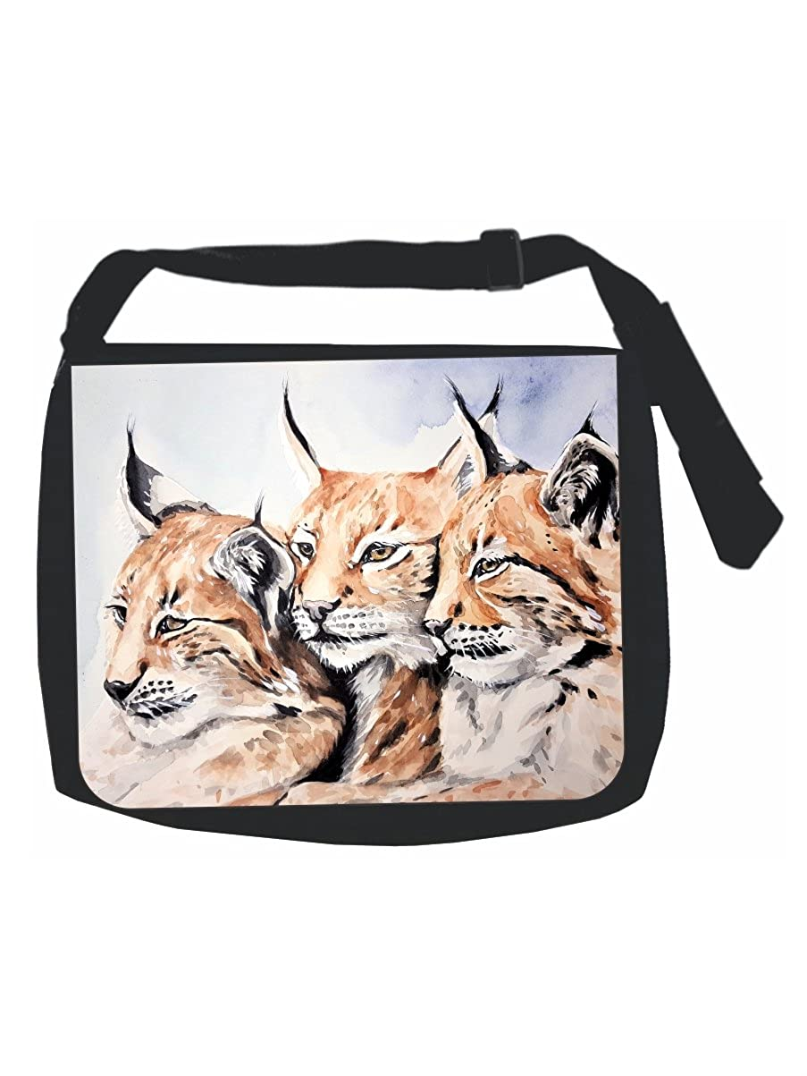 Watercolor Wildlife Animals Black Laptop Shoulder Messenger Bag and Small Wire Accessories Case Set Multi-Purpose Girls