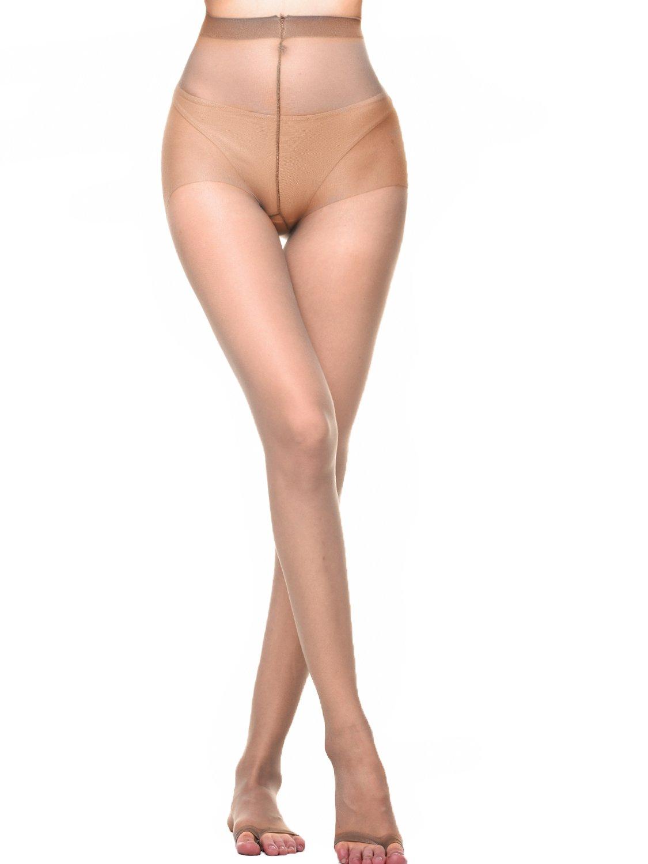 AMORETU Women Control Top Silk Ultra Sheer Tights Toeless Pantyhose 12D