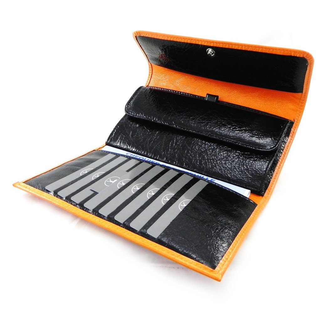 Wallet + checkbook holder leather ''Frandi'' orange black lacquer.