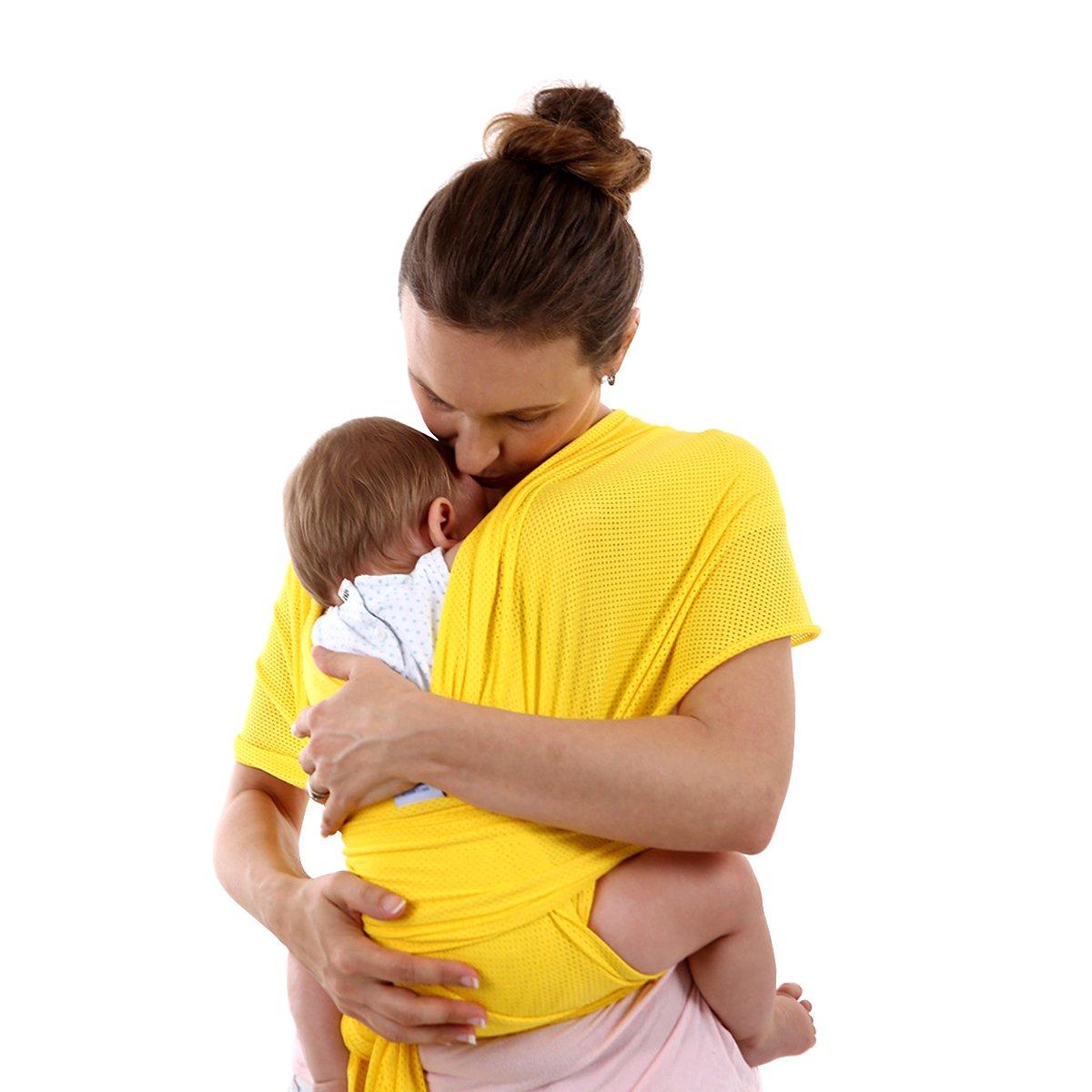 SONARIN All Season Transpirable Fular Portabebés,Baby Sling, Ideal Regalo(Amarillo) SA-CC004