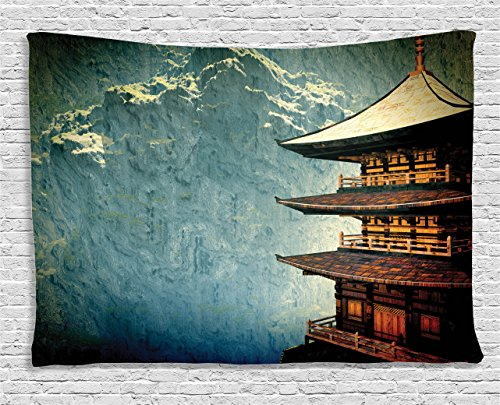 Wall Tapestry Asian (Asian Decor Tapestry by Ambesonne, Zen Yoga Temple In The Mountains Historic Architecture Antique Landmark, Wall Hanging for Bedroom Living Room Dorm, 60 X 40 Inches, Multicolor)