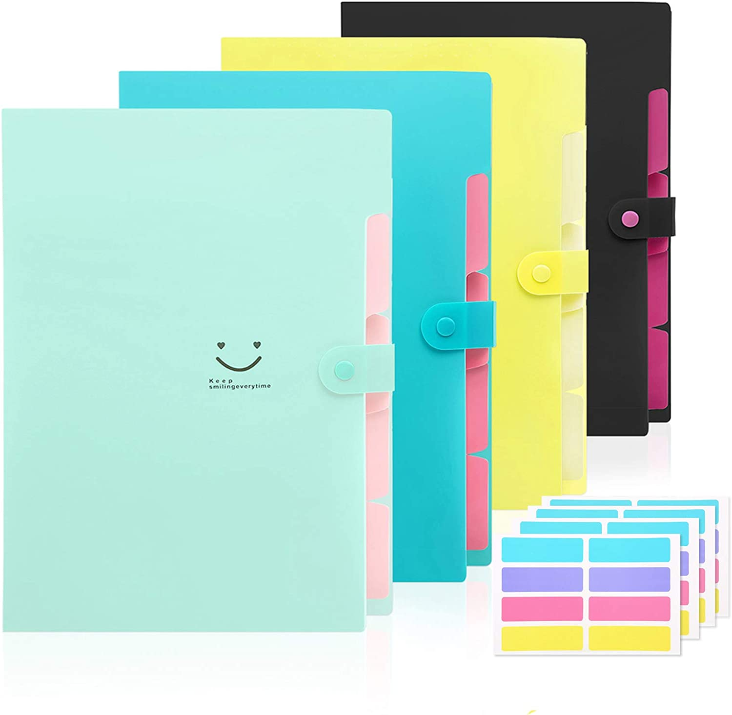 4 Pack Expanding File Folder,Skydue 5 Pockets Accordion Document Folder A4 Letter Size Paper Organizer Set with 32Pcs Labels for School & Office