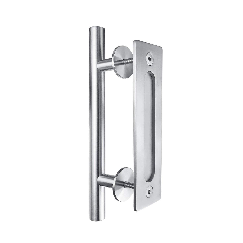 SMARTSTANDARD 12 Pull and Flush Square Door Handle Set Stainless Steel Door Pull Handle Sliding Barn Door Hardware Handle 2PCS