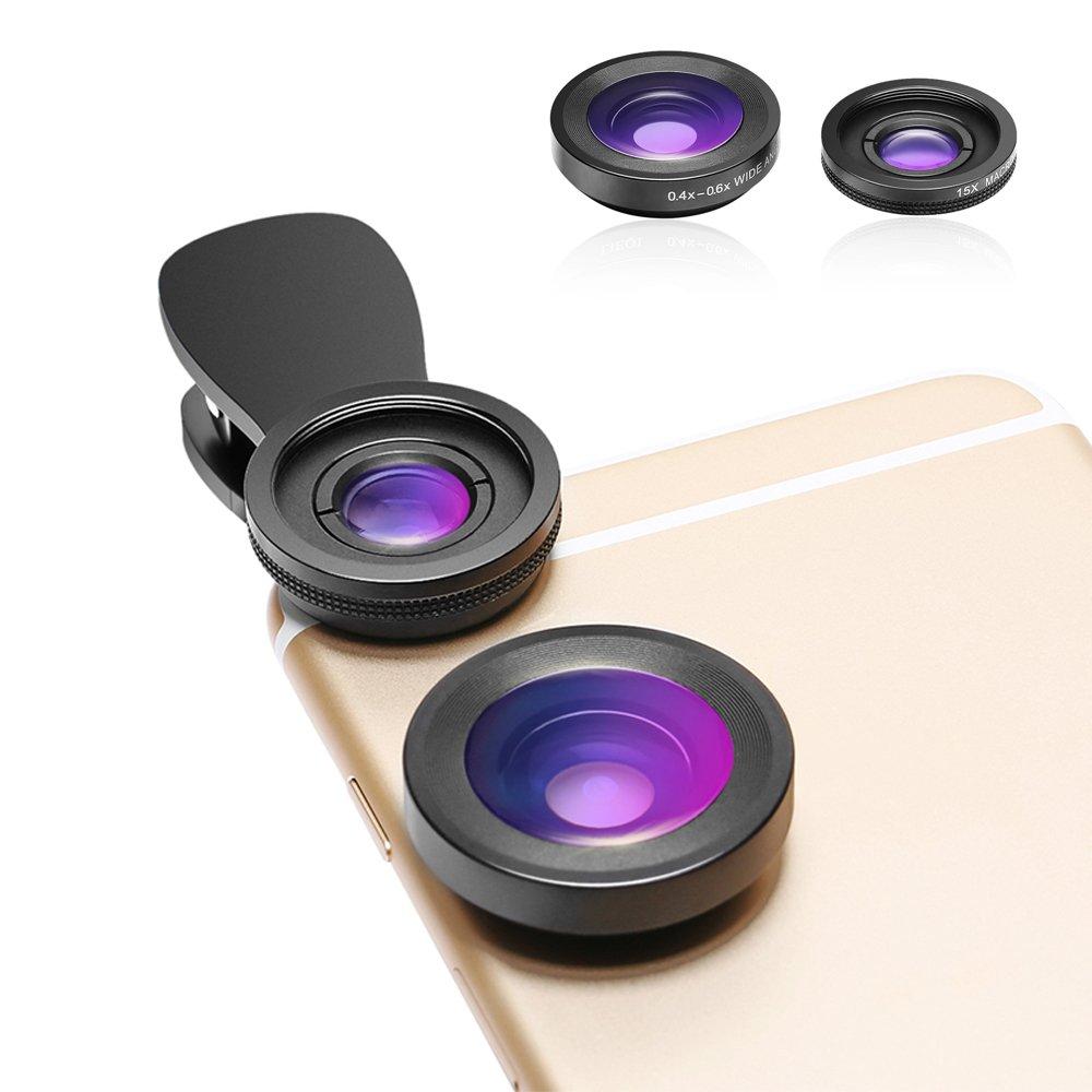 15 x Macro Lentilles pour iPhone 2 en 1 Lentille de Cam/éra pour T/él/éphone Portable HD avec clips avec 0,4-0,6 x Lentilles /à Grand Angle Samsung et la plupart des Smartphones et Tablettes