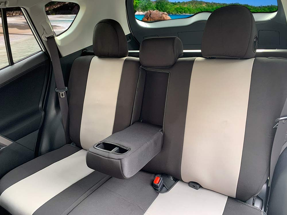CarsCover Custom Fit 2013-2018 Toyota RAV4 LE XLE SUV Neoprene Car Front Seat Covers Gray /& Black Sides Driver and Passenger Cover