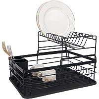 Escorredor de Louça Veneza, 2 andares Preto, duplo de cozinha e pia com porta talheres 9 pratos - Westing
