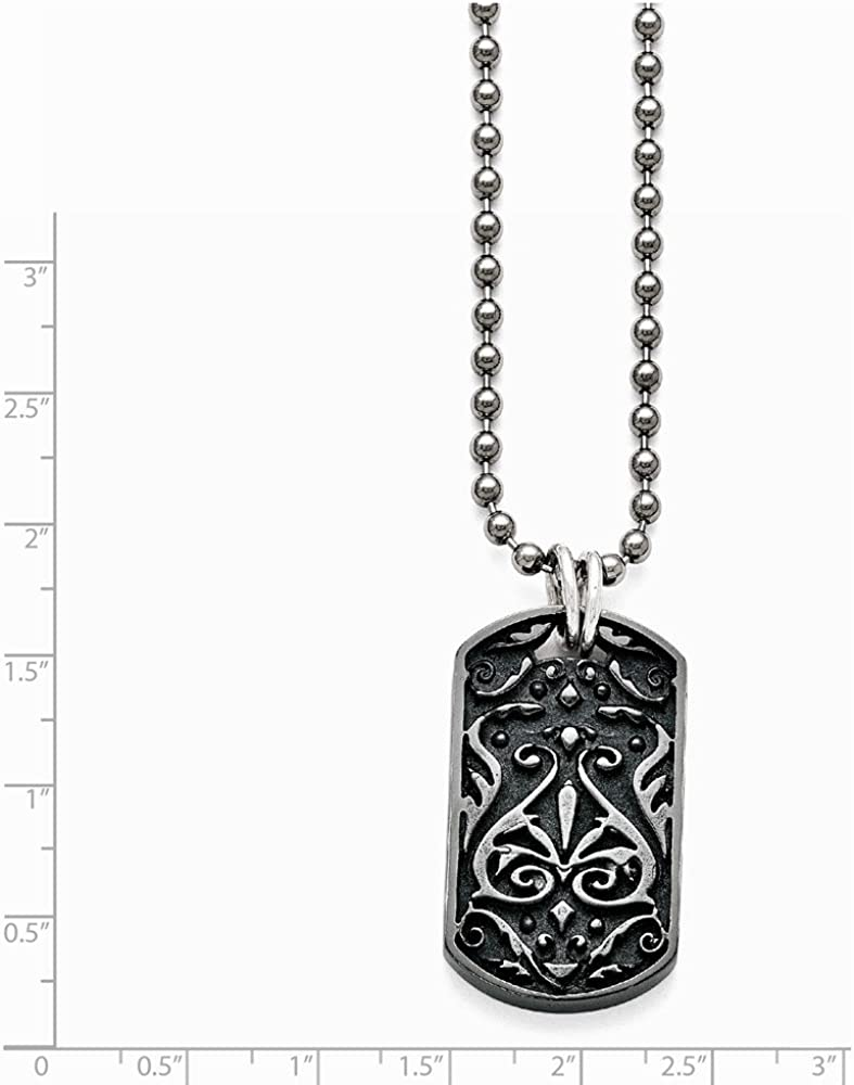 Jewelry Necklaces Necklace with Pendants Titanium//Ster.Sil Black Ti Polished Etched Dog Tag Necklace