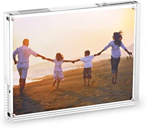 """HESIN Acrylic Phoyo Frame 8.5 by 11 inch Double Sided Frameless Picture Frame Magnetic Acrylic Block Desktop Photo Display Holder with Gift Box Package Thickness 15+15mm (8.5""""x11"""")"""