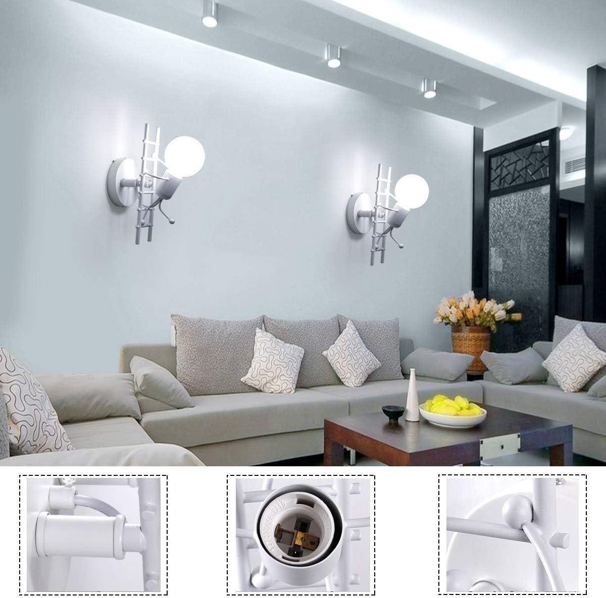 HAWEE Humanoid Kreative Wandleuchte Innen Wandlampe Modern Kerze Wandleuchte Art Deco Max 60W E27 Basis Eisen Halter für Kinderzimmer, Schlafzimmer, Wohnzimmer, Treppe, Flur, Restaurant Weiß
